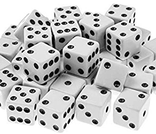 Super Z Outlet Standard 16mm White Dice with Black Pips Dots for Board Games, Activity, Casino Theme, Party Favors, Toy Gifts (4 Pack)